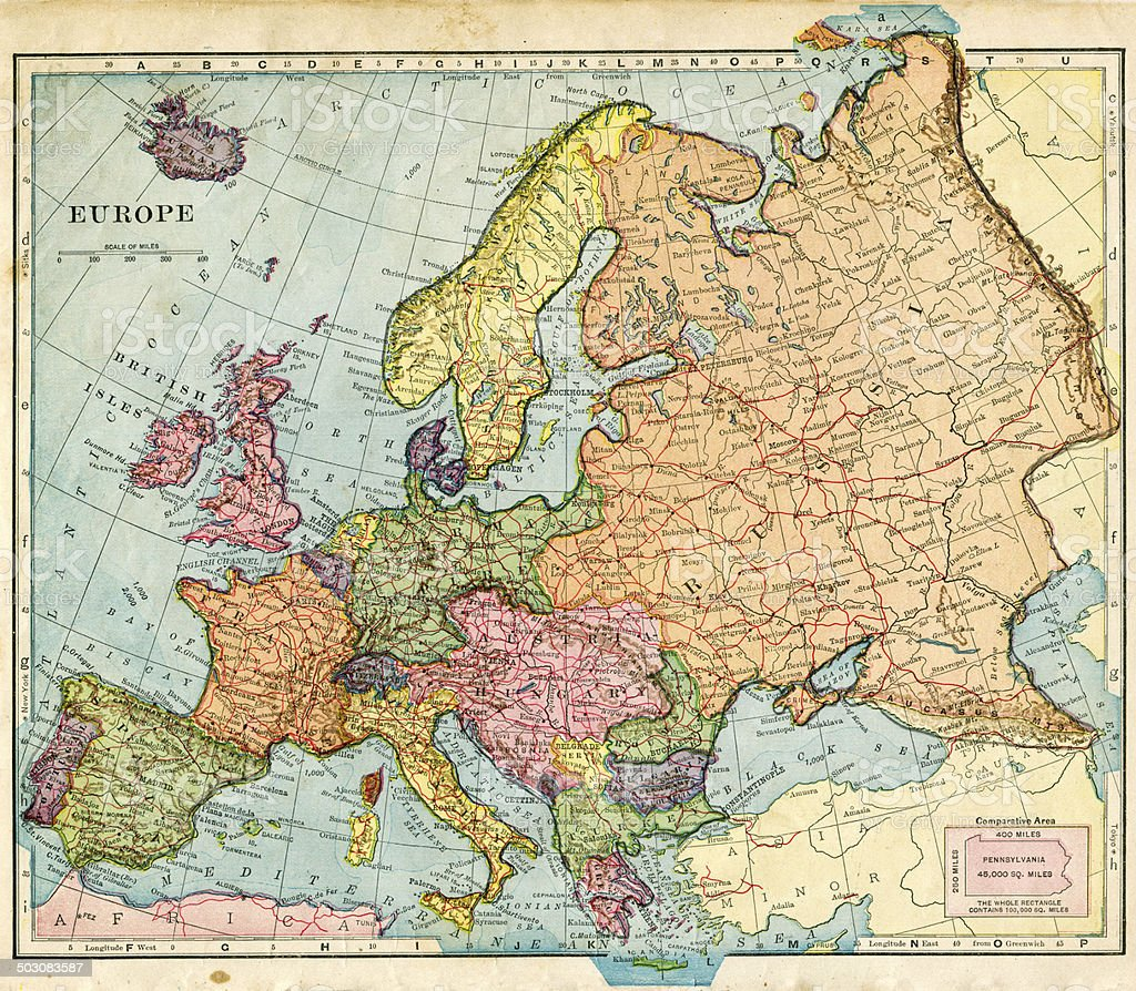 Map From 1896 Of Europe stock photo