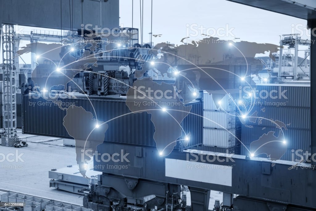 Map global logistics partnership connection of Container Cargo freight ship stock photo