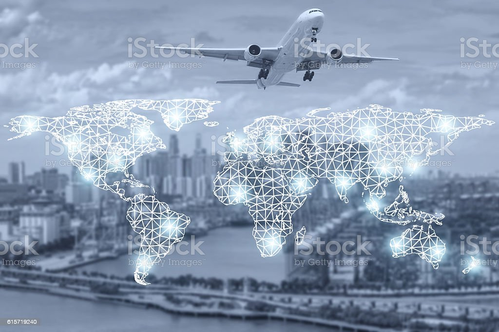 Map global partner connection of cargo container for logistics stock photo