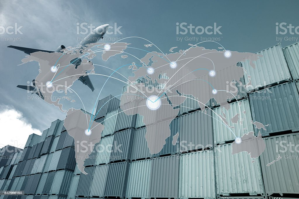 Map global partner connection of Container Cargo freight stock photo