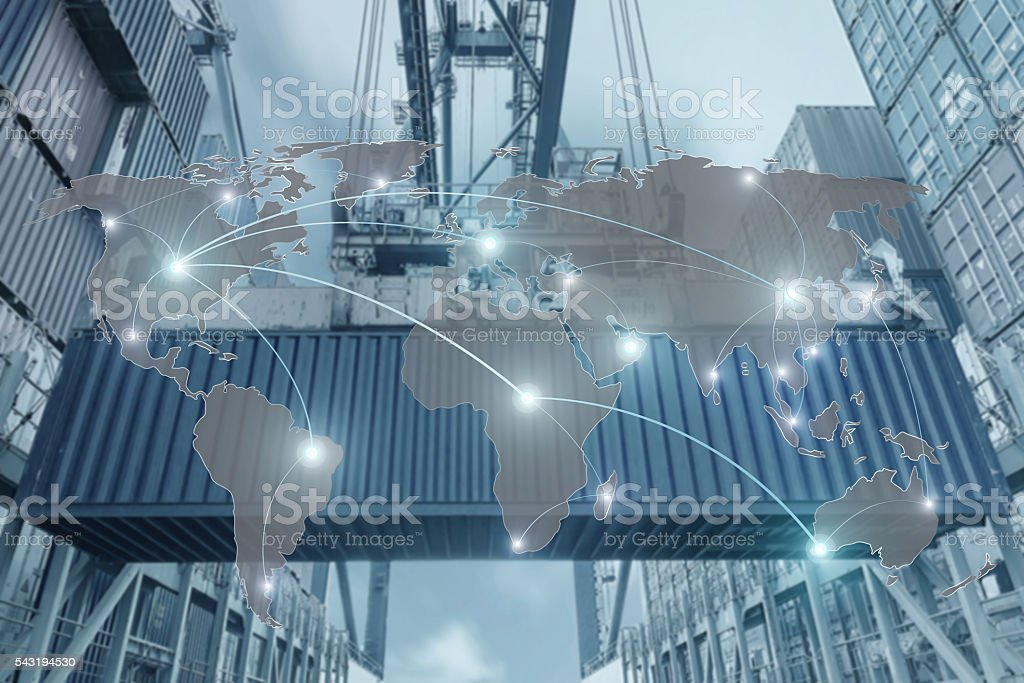 Map global partner connection of Container Cargo freight ship stock photo