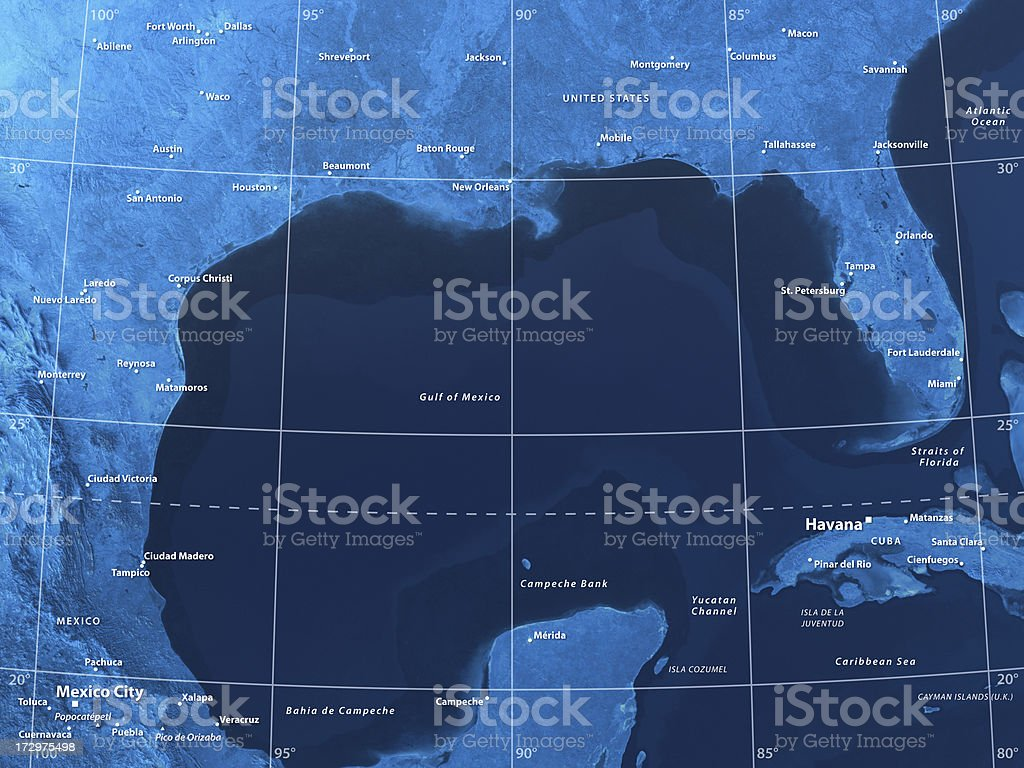 Map Gulf of Mexico stock photo