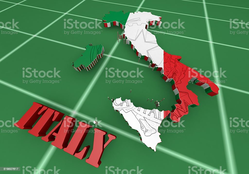 3D Map illustration of Italy with flag vector art illustration