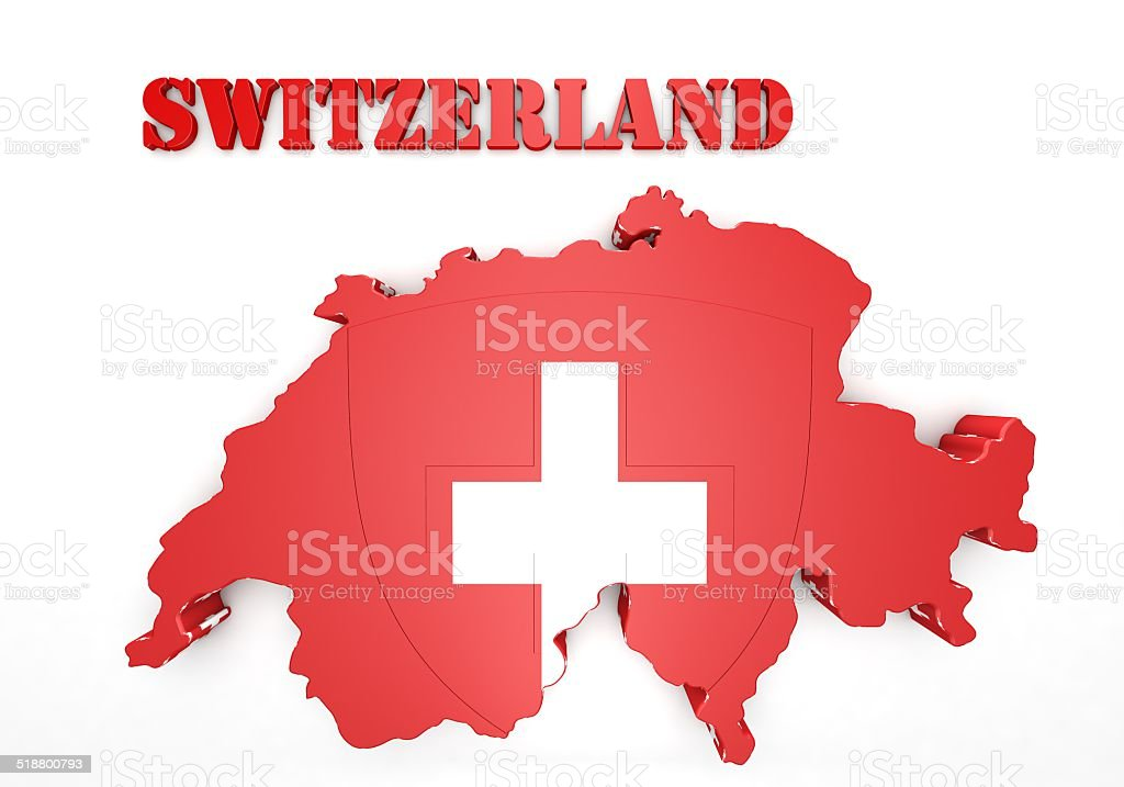 3D Map illustration of Switzerland with flag vector art illustration