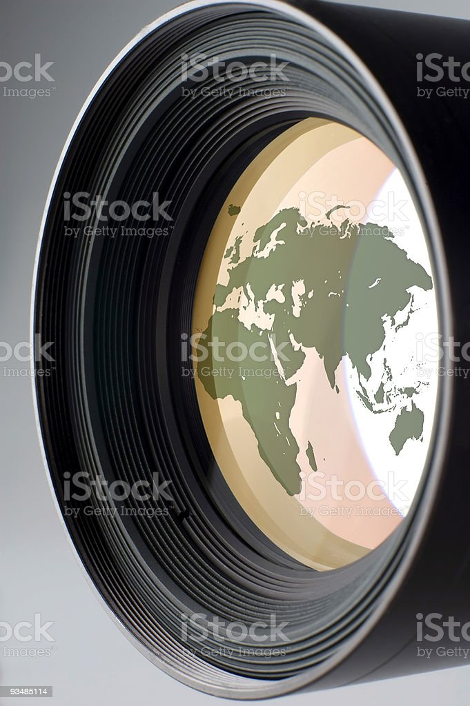 Map image reflection on a camera lens stock photo