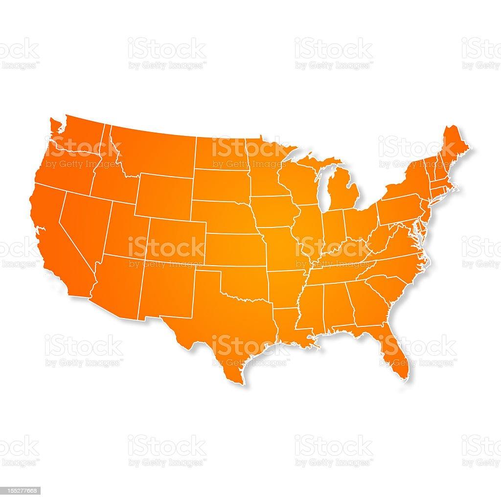 US Map Isolated On White Background stock photo