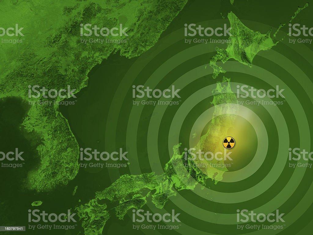Map Japan Fukushima Nuclear Disaster stock photo