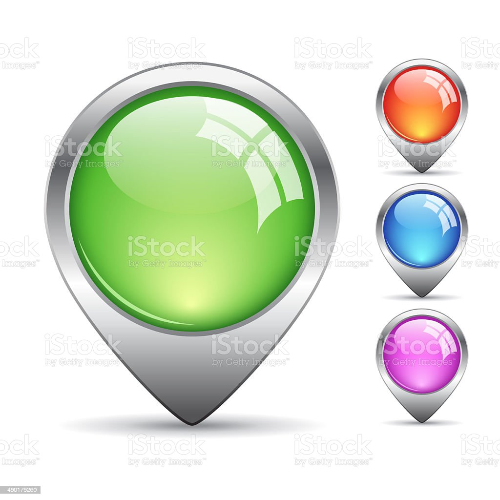 Map location buttons stock photo