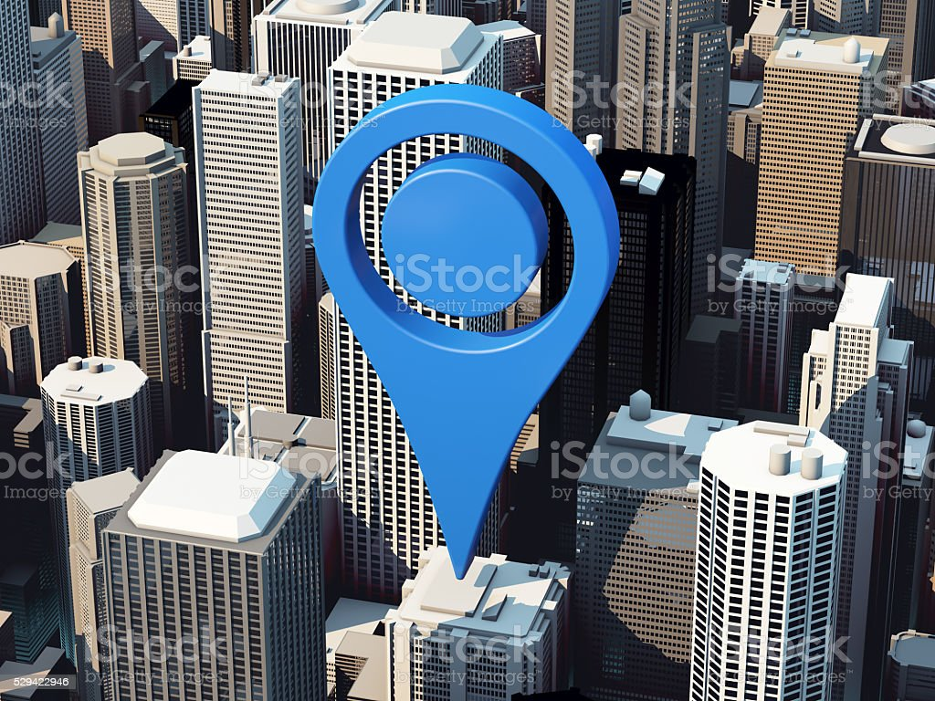 3D map locator icon stock photo