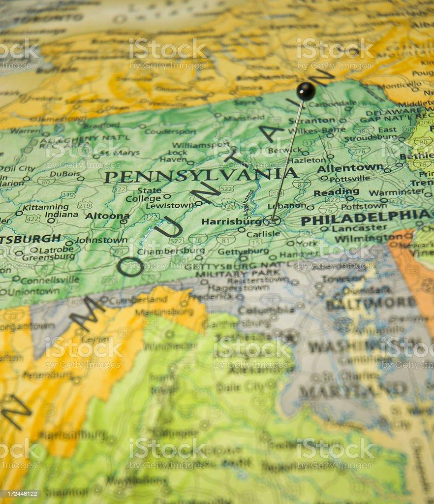 Map Macro Of Harrisburg Pennsylvania Baltimore Washington Maryland stock photo
