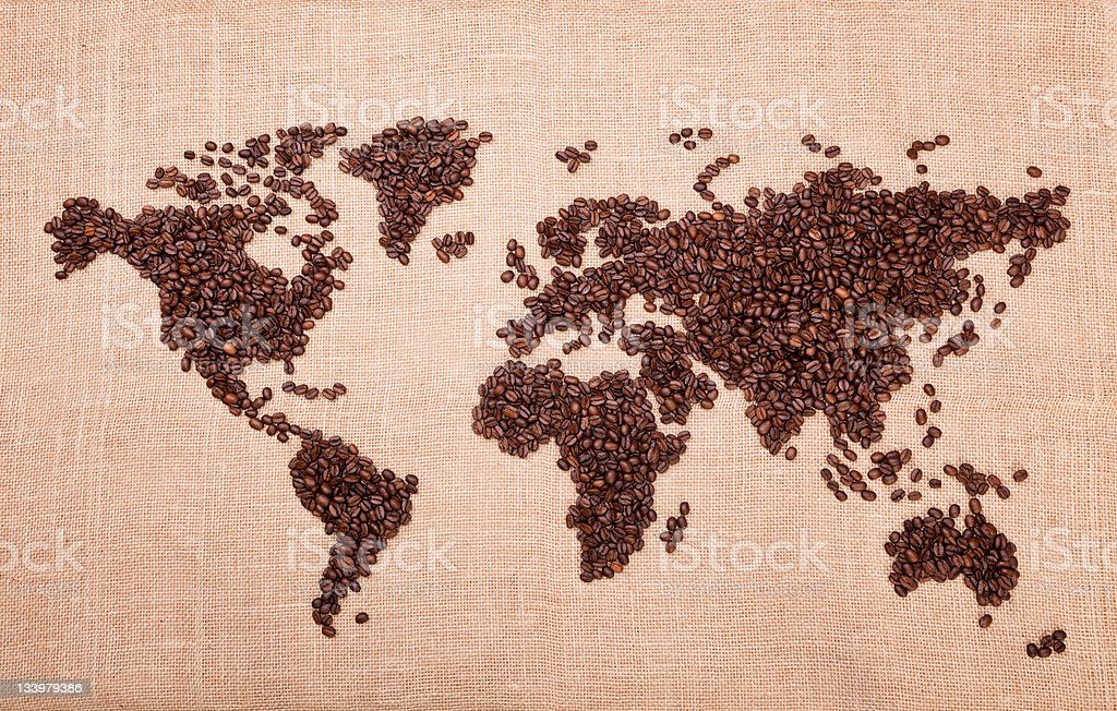 Map made of coffee royalty-free stock photo