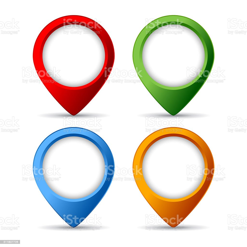 Map markers set vector art illustration