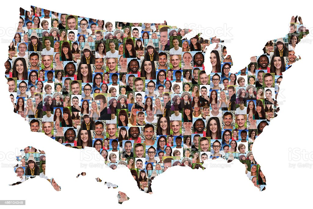 USA map multicultural group of young people integration stock photo