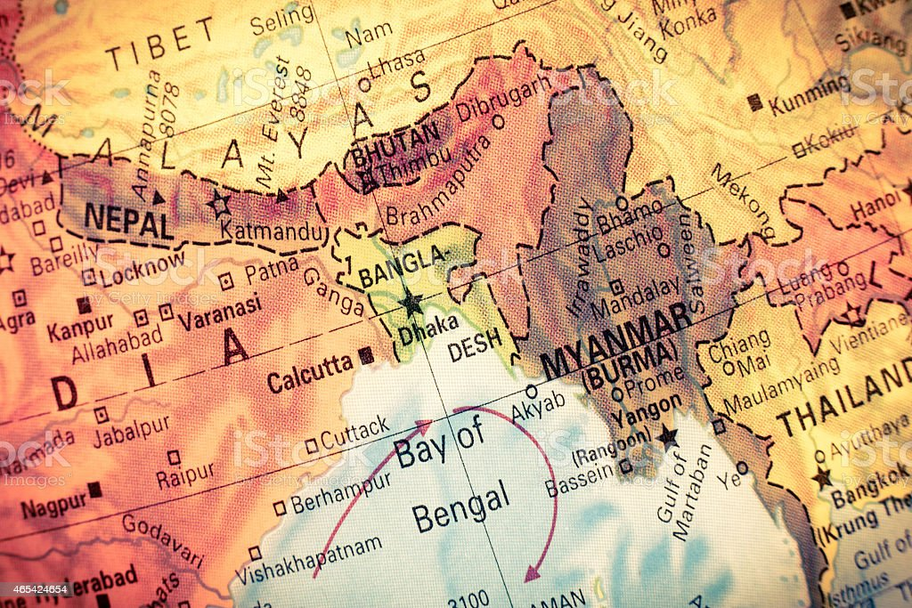 Map Myanmar and Bangladesh, stock photo