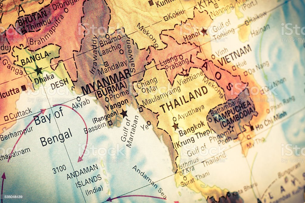 Map Myanmar and Burma, stock photo
