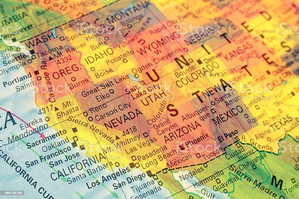 Map North West USA. Close-up image stock photo