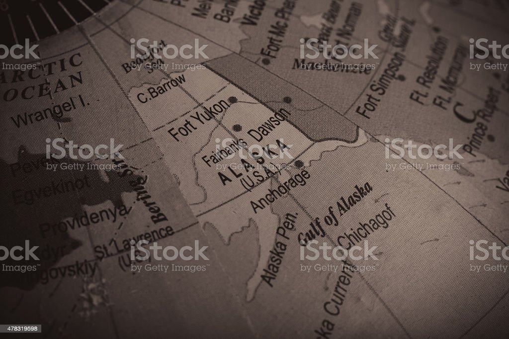 Map of Alaska and the Neighbouring Countries stock photo