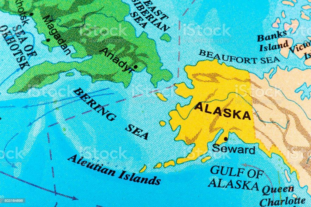 Map of Alaska stock photo