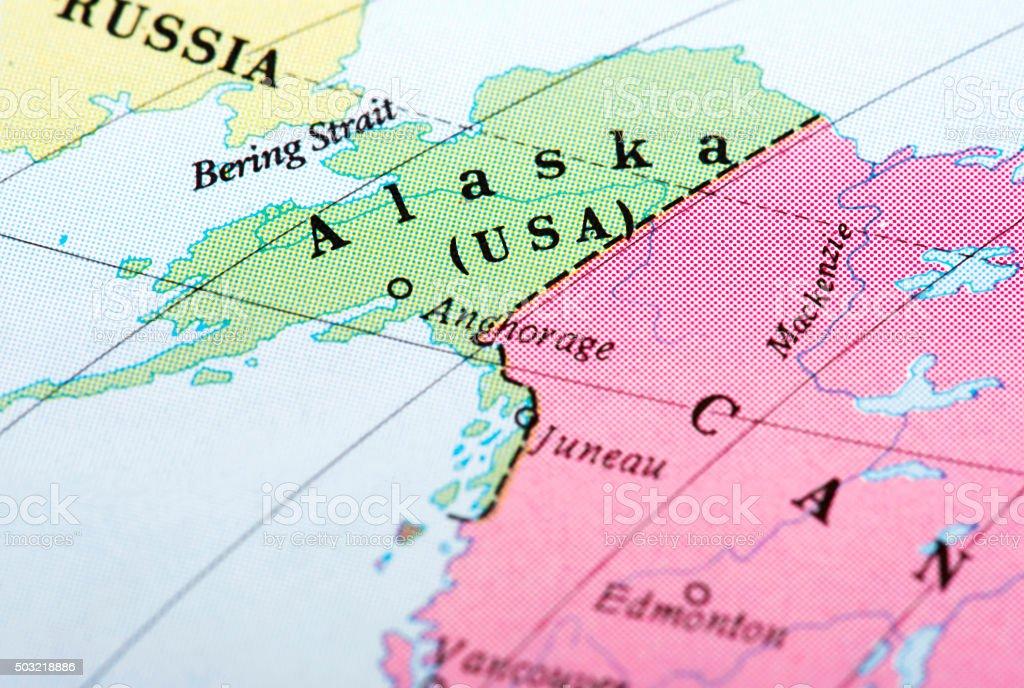 Map of Alaska (USA) stock photo