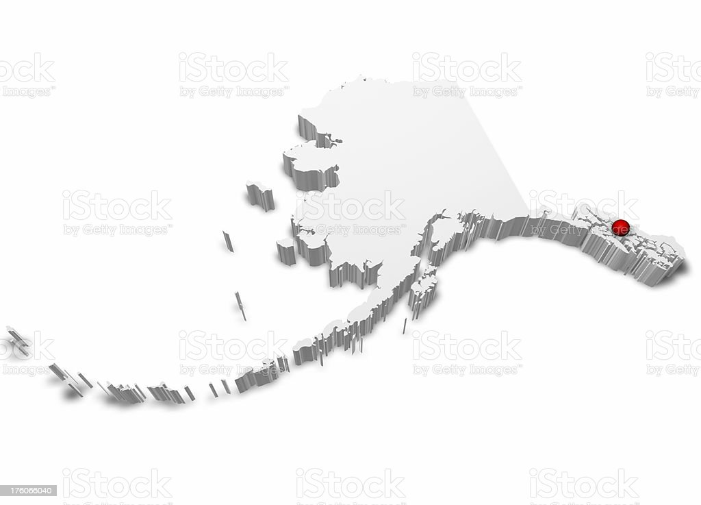 3D Map of Alaska with Capital City Marked. stock photo