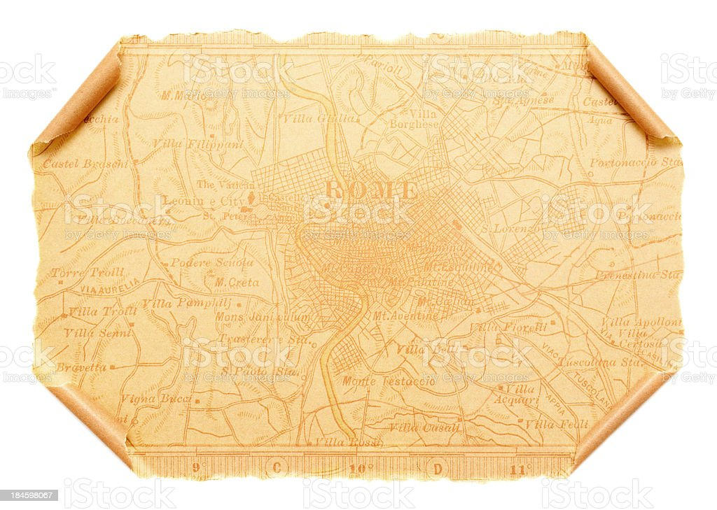 Map of Ancient Rome on scroll paper background royalty-free stock photo