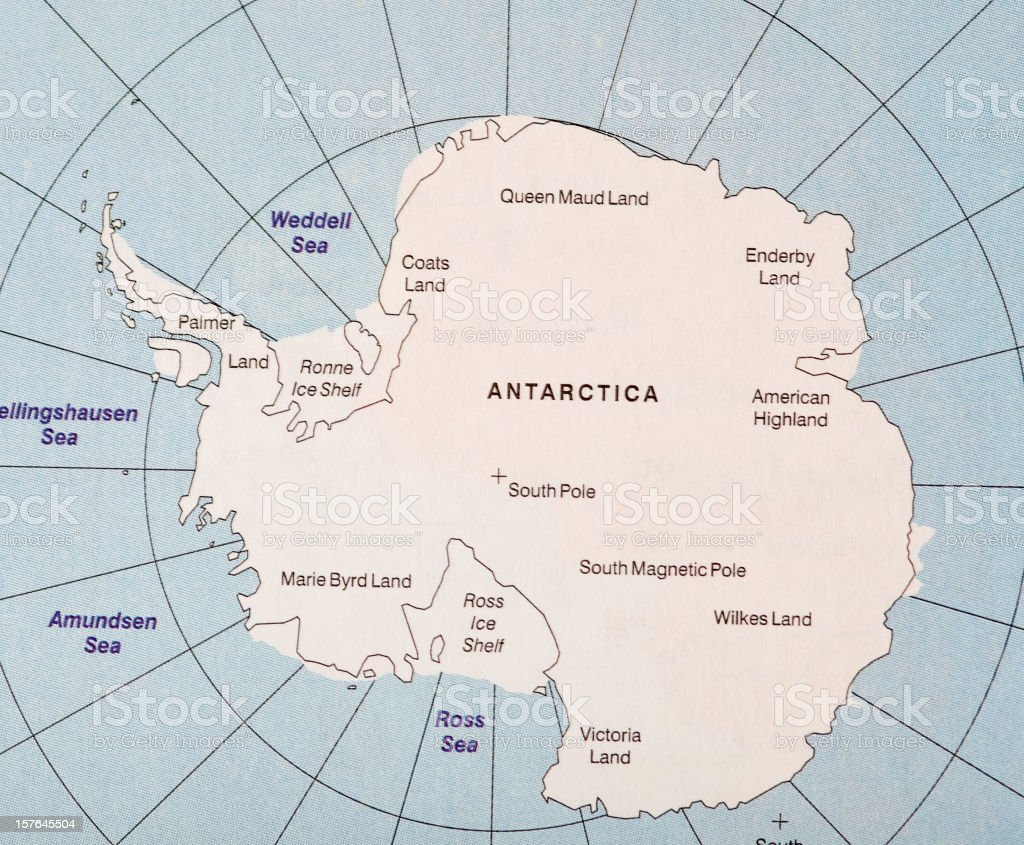 Map of Antarctica continent with oceans stock photo