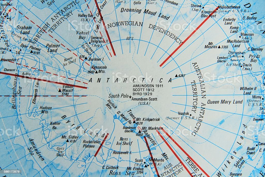 Map of Antarctica stock photo