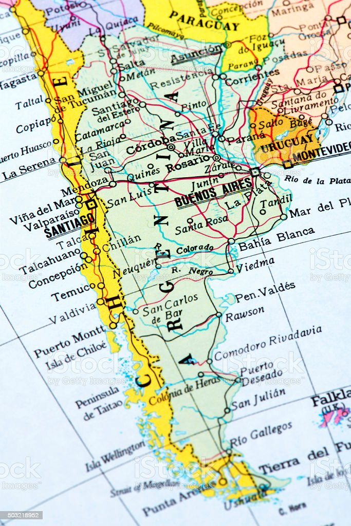 Map of Argentina stock photo