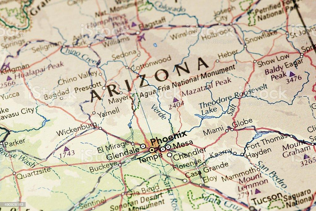 Map of Arizona stock photo