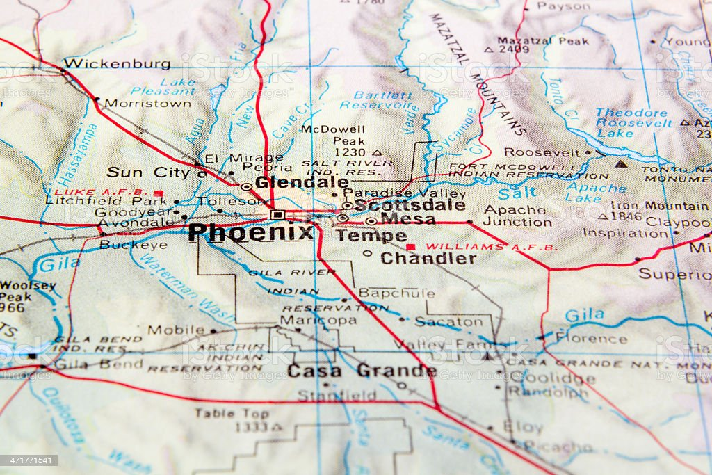Map of Arizona zoomed in on area around Phoenix, Arizona royalty-free stock photo