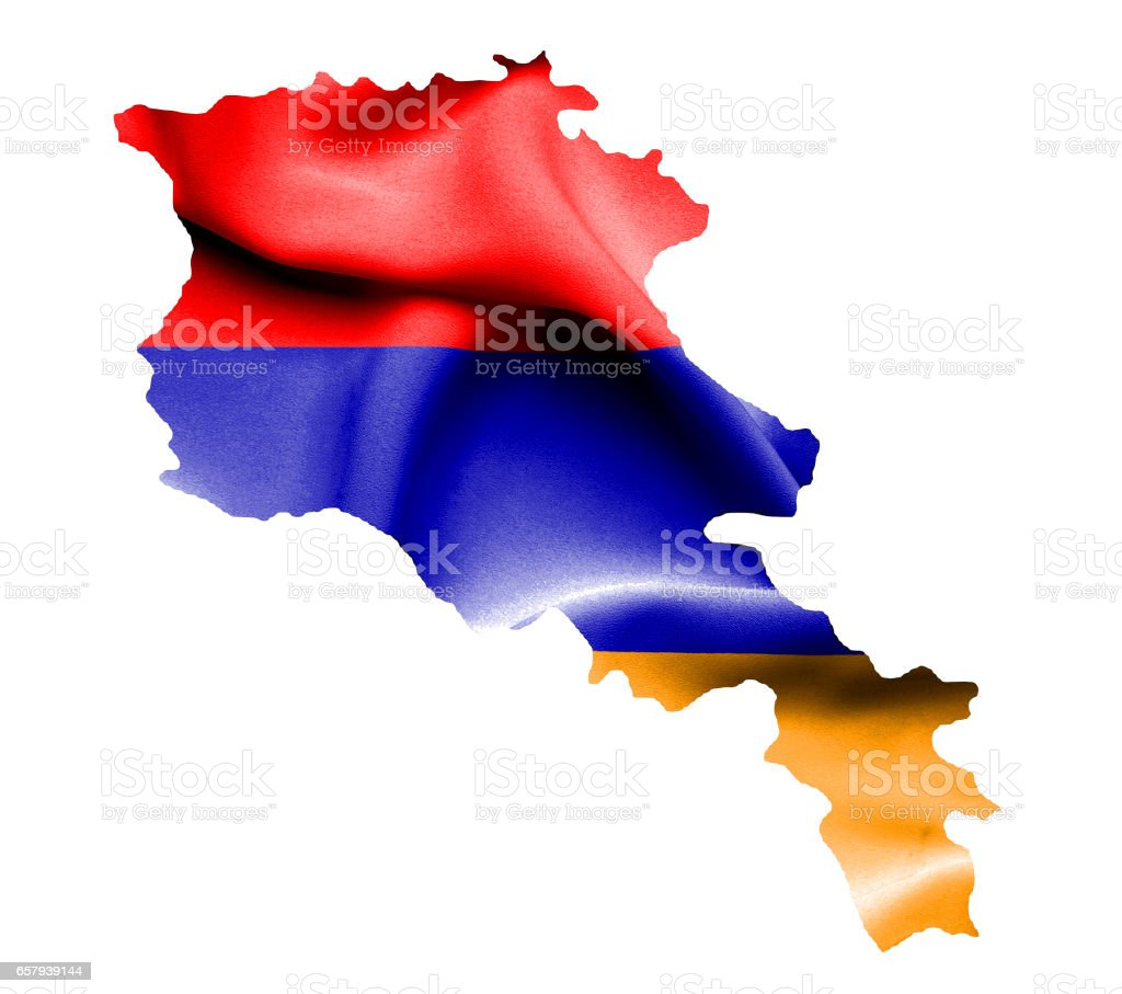 Map of Armenia with waving flag isolated on white stock photo