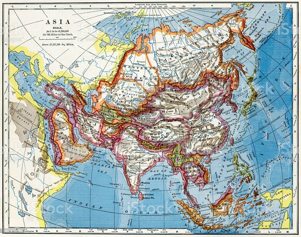 Map Of Asia 1883 stock photo