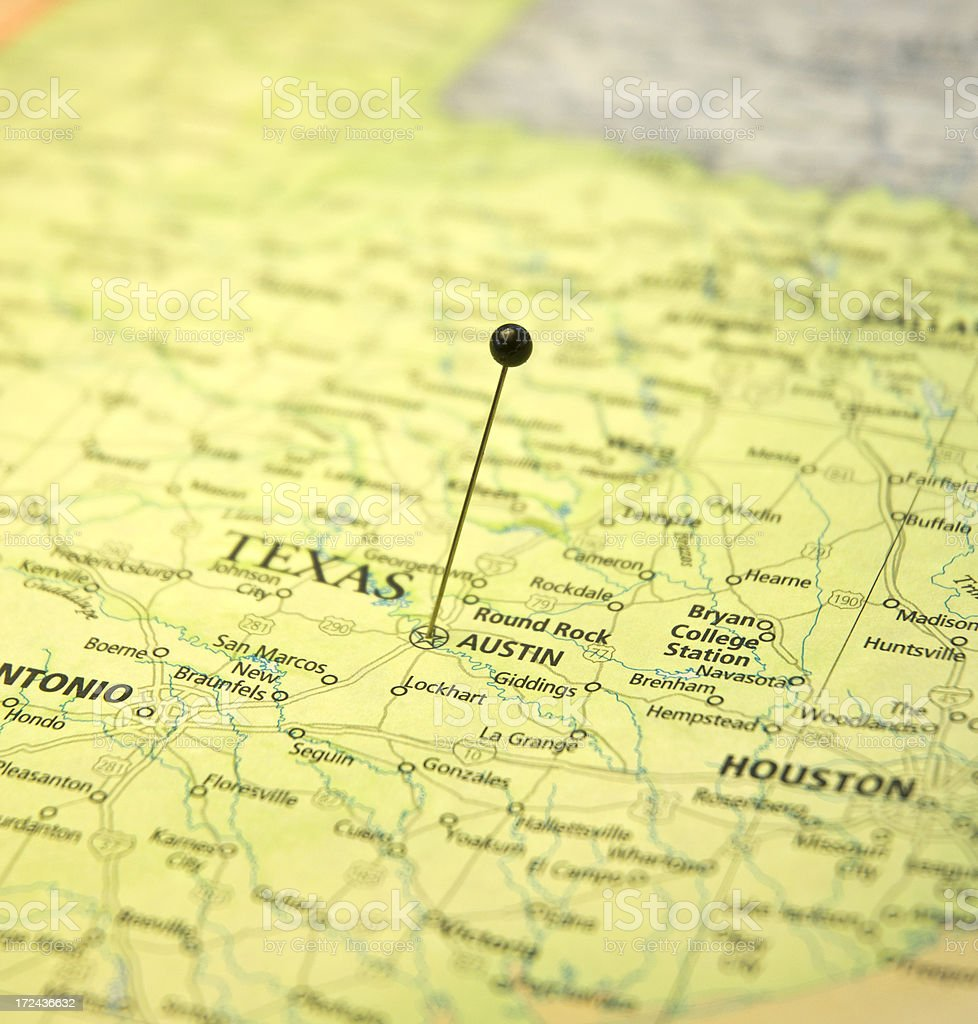 Map Of Austin And Houston Texas Macro With Travel Pin stock photo – Texas Travel Map