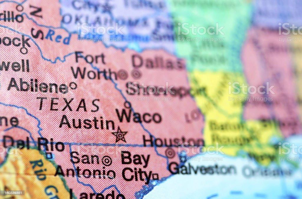 Map of Austin, Texas stock photo