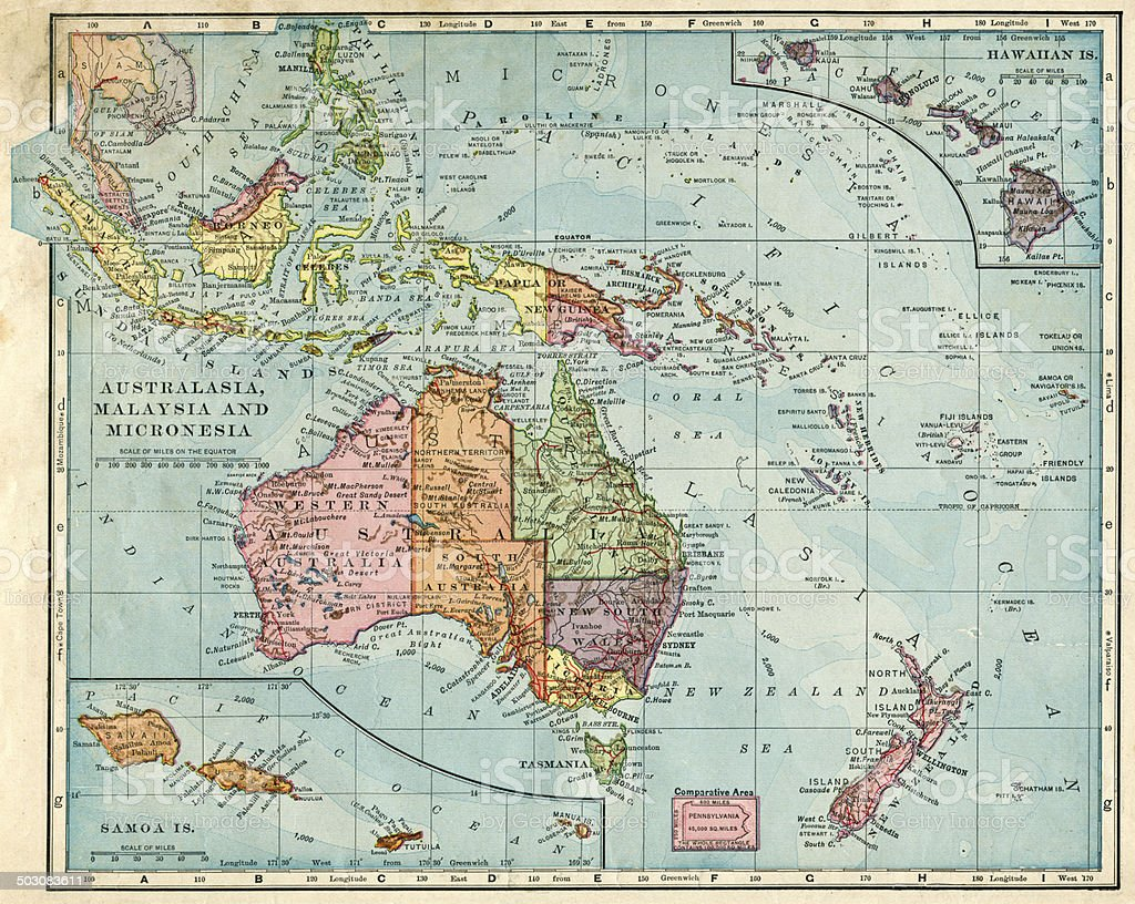 Map Of Australia, Malaysia, And Micronesia From 1896 stock photo
