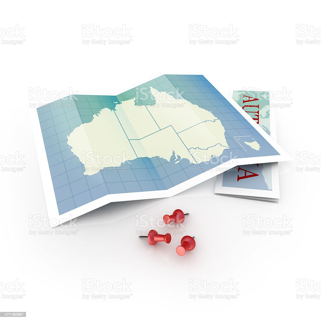Map of Australia on white desk and pins royalty-free stock photo