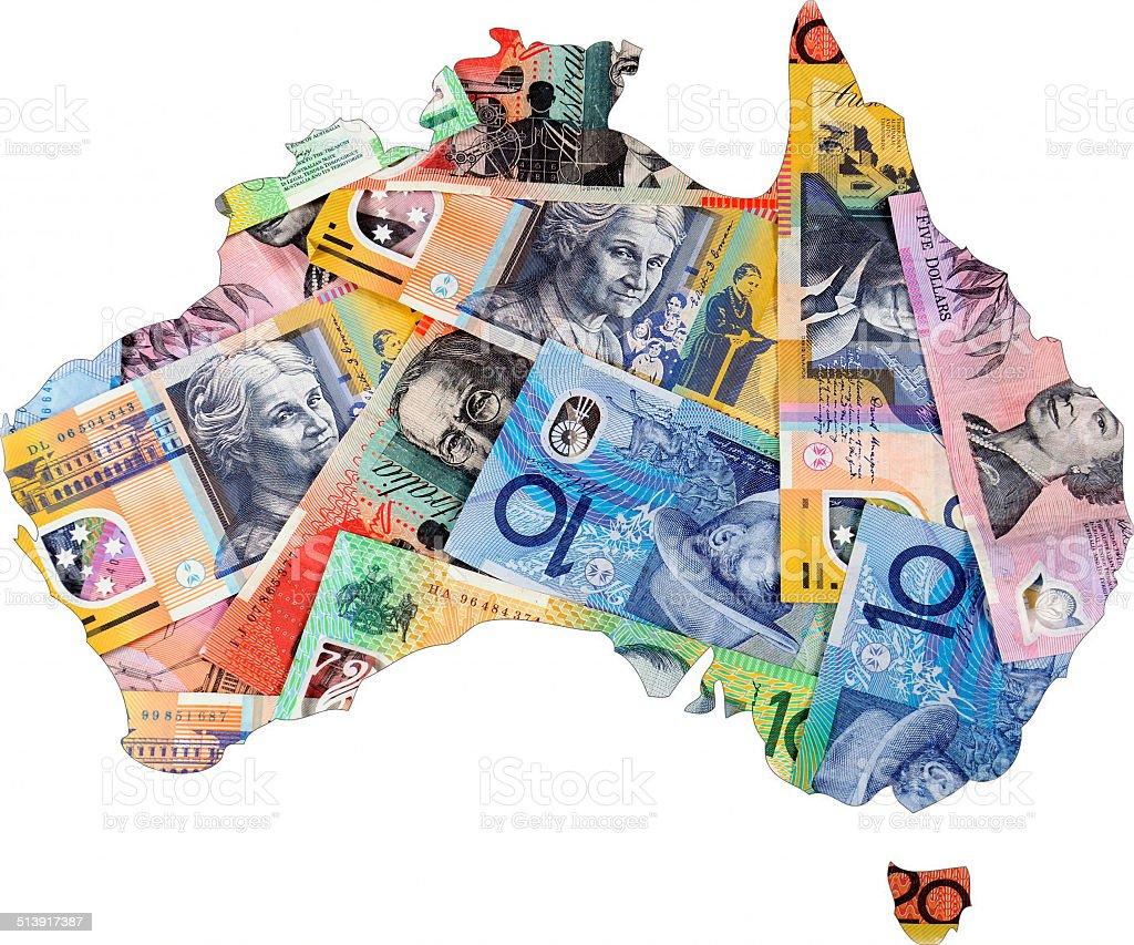 Map of Australia with Australian money dollar notes. stock photo