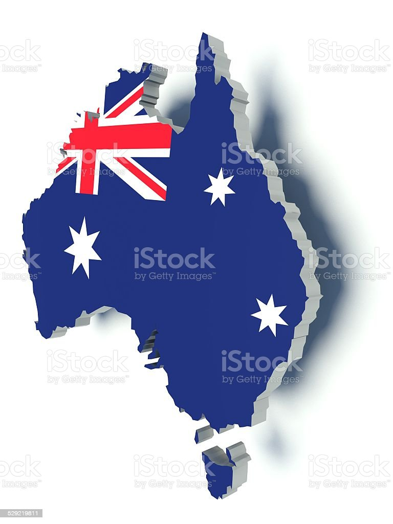 map of australia with flag colors 3d render illustration stock