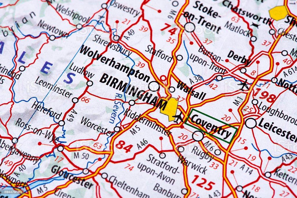 Map of Birmingham stock photo