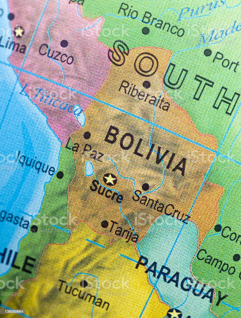 Map of Bolivia and vicinities royalty-free stock photo