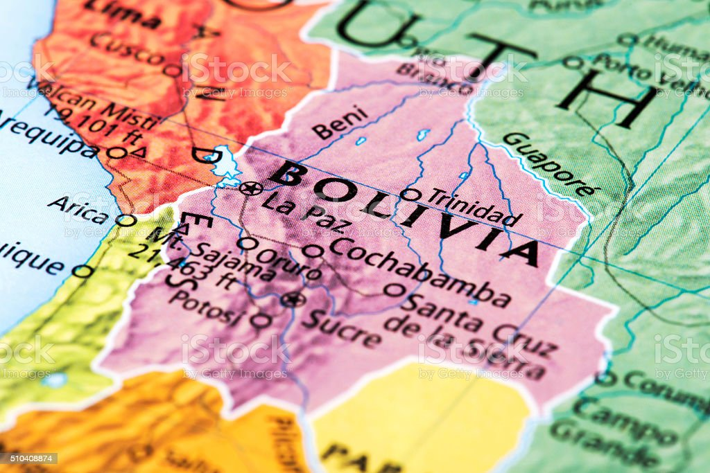 Map of Bolivia stock photo