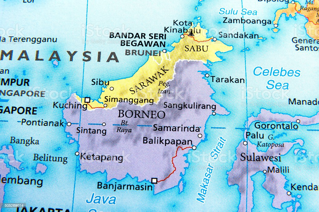 Map of Borneo,sarawak,brunei stock photo