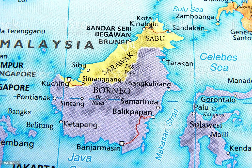 Map of Borneo,sarawak,brunei stock photo