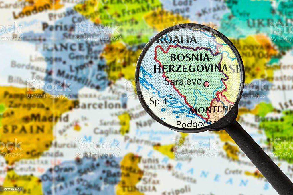 Map of Bosnia and Herzegovina stock photo