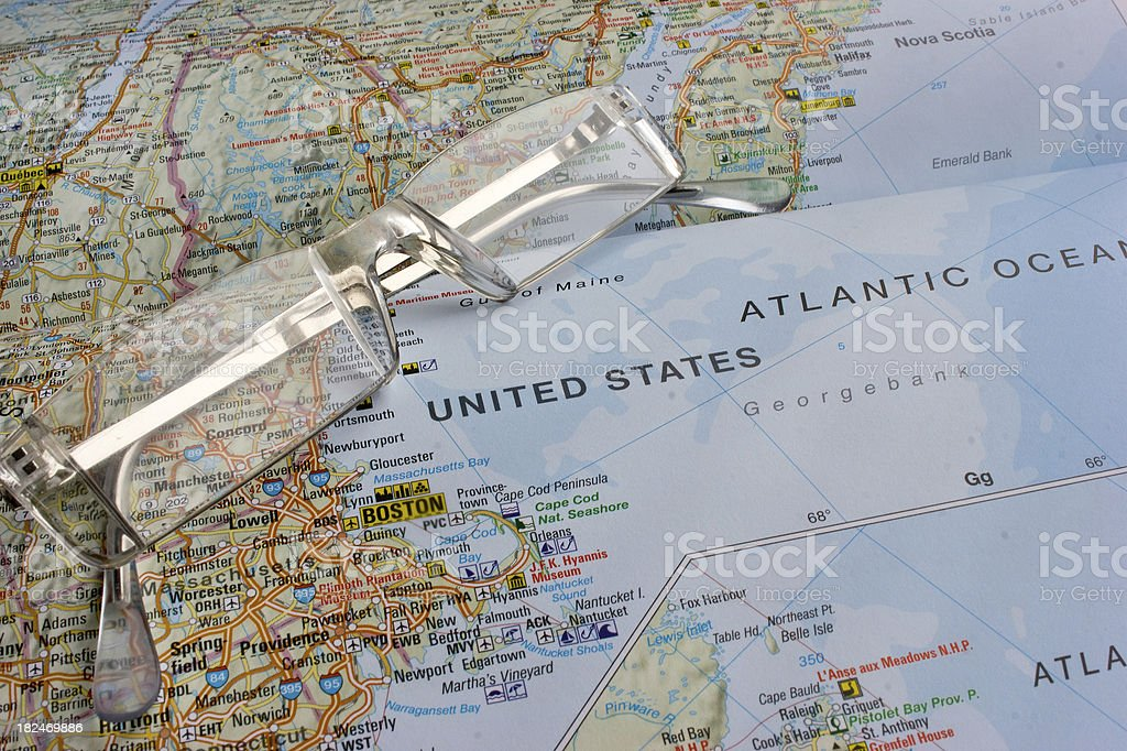 Map of Boston and the Eastern sea board royalty-free stock photo