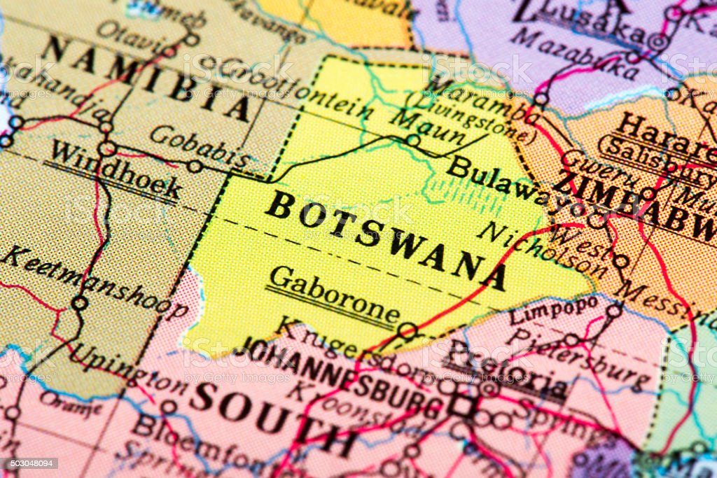 Map of Botswana stock photo