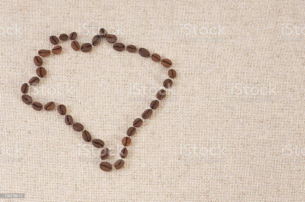 Map of Brazil - coffee beans on canvas royalty-free stock photo