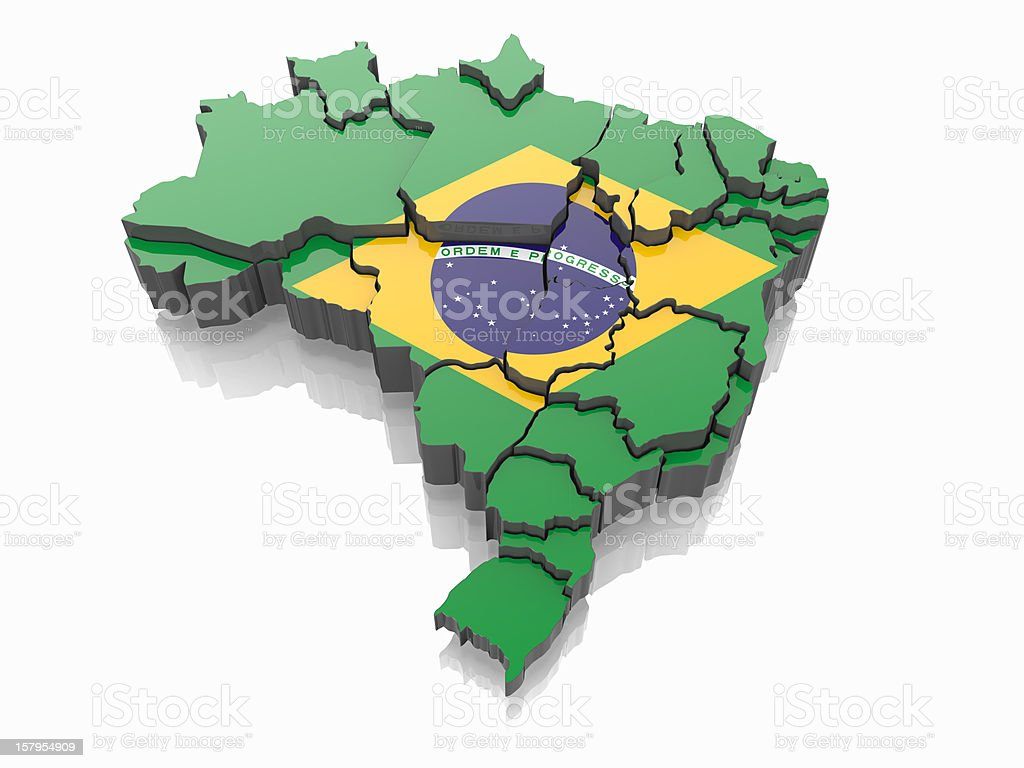 Map of Brazil in Brazilian flag colors stock photo