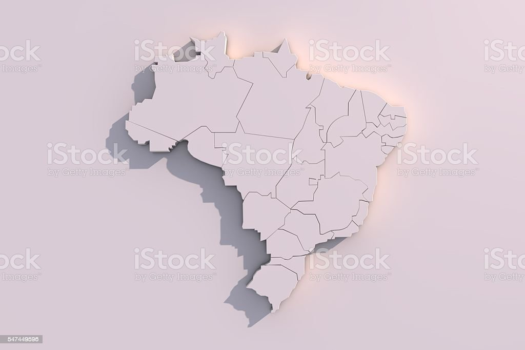 3D map of Brazil with regions stock photo