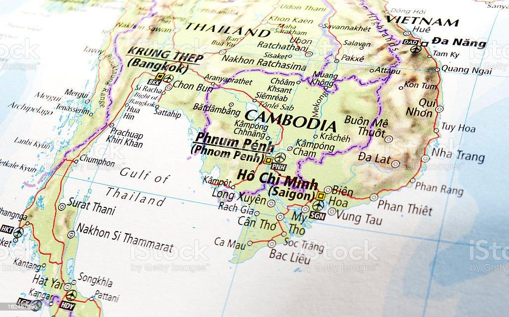map of cambodia stock photo
